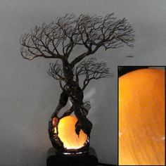 Selenite Moon Sphere Lamp wire Tree Of Life by CrowsFeathers