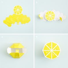 Create your own Paper Lemon 3d Paper Crafts, Diy And Crafts, Paper Fruit, Origami, Fruit Crafts, Wafer Paper Flowers, Diy Papier, Paper Tree, Free Prints