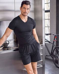 Slim Fit Supersoft Pyjama Shorts - Black - S Black Pajamas, David James Gandy, Suit Shop, Summer Suits, Pajama Shorts, Lounge Wear, Menswear, Style, Mens Pyjamas