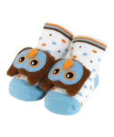 Look at this #zulilyfind! Blue Owl Rattle Socks by Stephan Baby #zulilyfinds