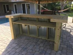 Wood/Metal Thomas – x x rustic corrugated metal and real pressure treated wood outdoor or indoor patio bar - Patio Bar Patio, Deck Bar, Outdoor Patio Bar, Backyard Bar, Pallet Patio, Outdoor Kitchen Design, Backyard Landscaping, Outdoor Bars, Rustic Outdoor Bar