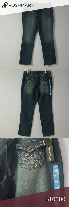 """Straight Bootcut Leg NWT nine west jeans Nine West women's denim jeans with a dark, lightly sandblasted wash, a straight boot cut leg, 5 pockets, zip fly, and back pockets are adorned with a stitched design and rhinestone """"bling"""" pockets.  This is new with tag. Nine West Jeans Straight Leg"""