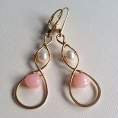 Goldfilled wire wrapped earrings with pearls and by anikojewelry, $32.00