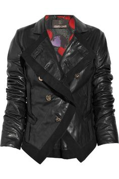 Roberto Cavalli Suede-trimmed leather jacket    Roberto Cavalli jacket has a collar, lapels, two slit pockets, a peplum at back, inverted seam detailing at