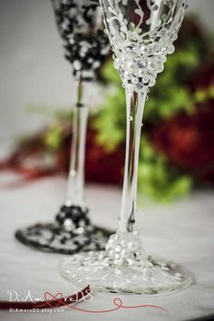 Personalized Champagne Flutes, Lace Wedding Glasses, Wedding Toasting Glasses, White & Black Toasting Flutes, Engraved Flutes, Wedding Gifts Exclusive products from DiAmoreDS are perfect for your special day, or as a unique gift for an anniversary or newlyweds. You can use the designer