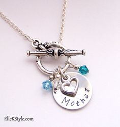 Mothers Day Personalized Hand-stamped Necklace - Jewelry - Gift - Birthstones