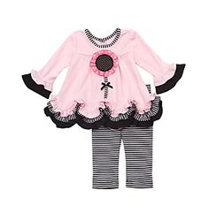 Rare Editions Pink & Black Knit Flower Legging Set Style: Top Pink long sleeve top w/ ruffle trimmings Striped accents on neckline & ruffle trimming Flower sewn adorns front of top Keyhole button back closure cotton; Baby Girl Fashion, Toddler Fashion, Kids Fashion, Tops For Leggings, Dresses With Leggings, Cute Outfits For Kids, Toddler Outfits, Little Girl Dresses, Girls Dresses