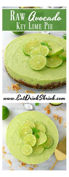 For Keto: change out the maple syrup for sugar/carb free syrup and exchange dates for erythritol or other carb free sweetener for this Raw Avocado Key Lime Pie Key Lime Pie Cheesecake, Avocado Cheesecake, Key Lime Pie Bars, Vegan Cheesecake, Cheesecake Recipes, Avocado Dessert, Paleo Dessert, Avocado Recipes, Raw Food Recipes
