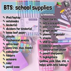 BTS school suppliesBTS school craft ideas for starting schoolDIY school supplies you need to start school - DIY school notebooks - cute, cool and easy projects for teenagers, tweens and kids for middle and Middle School Supplies, Middle School Hacks, High School Hacks, Life Hacks For School, School Study Tips, High School Essentials, School Supplies 7th Grade, School Backpack Essentials, Back To School Supplies List