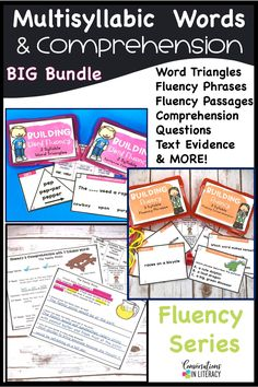 Multisyllabic word activities are great for word work, small group, RTI, & literacy centers! Students practice decoding open syllables, closed and others in word triangles, fluency phrases and learning comprehension skills too with the ideas in this common core product all bundled together! #guidedreading #fluency#conversationsinliteracy #comprehension #phonics #classroom #elementary#thirdgrade #secondgrade #fourthgrade #fifthgrade 2nd grade, 3rd grade, 4th grade, 5th grade
