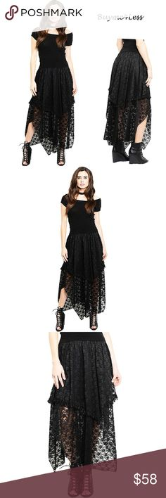 """Gypsy Gothic Steampunk Ruffle Lace Long Maxi Skirt We accept Reasonable Offer  Color: Black Material: Lined, English Embroidery Lace Product Line: Buyme4Less: Victorian Gothic  We love Punk Gothic Maxi Skirt, Soft Victorian Lace with Ruffle trim in details, Gypsy Asymmetric Hem, Layer Flare, Stretch with elastic waistband, Comfortable fit. So Sexy & So Stylish in modern fashion.  Approx. : ** Waistline = S, M, L = 24""""~27.5"""", 28""""~30.5"""", 31""""~33.5"""" ** Total Length from waistline= S, M, L = 42""""…"""