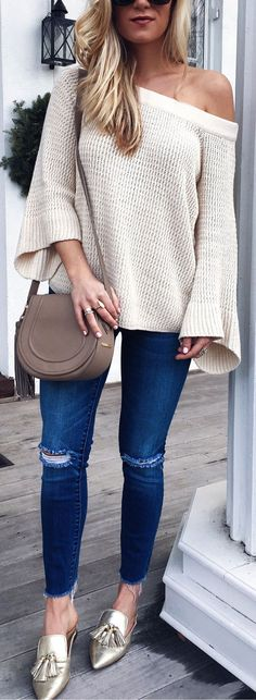 White Knit / Navy Ripped Skinny Jeans / Metallic Pumps Free People Halo Pullover Trending Summer Spring Fashion Outfit to Try This 2017 Great for Wedding,casual,Flowy,Black,Maxi,Idea,Party,Cocktail,Hippe,Fashion,Elegant,Chic,Bohemian,Hippie,Gypsy,Floral