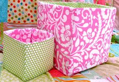 You can get organized in style with these simple fabric storage bins.