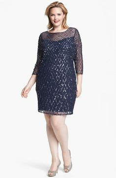 Shop 1920s Plus Size Dress - Pisarro Nights Embellished Mesh Dress (Plus Size) $208   http://www.vintagedancer.com/1920s/shop-1920s-plus-size-dresses-and-costumes/