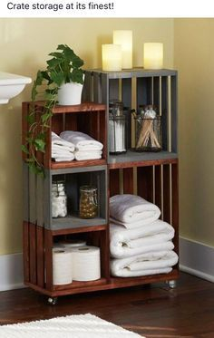 DIY Bathroom Storage Shelves Made From Wooden Crates & 20 Great Crate Projects | Useful | Pinterest | Crates Paint stain ...