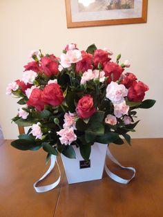 Róże i goździki - flower box