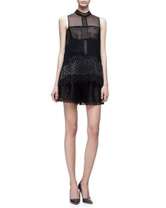 Circle-Lace Sleeveless Top & High-Waist Shorts, Black by Lela Rose at Neiman Marcus. $1195