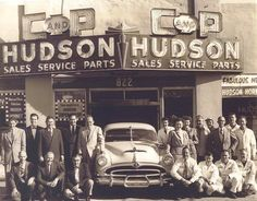 Hudson dealer. My Grandparents had a Hudson. You could lie down in the backseat (no seatbelts!)