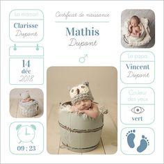 Faire-part de naissance garçon : Certificat à personnaliser sur Popcarte.com. Avant que vos proches ne le rencontrent pour de vrai, donnez-leur plus de détails possibles sur votre petit prince !
