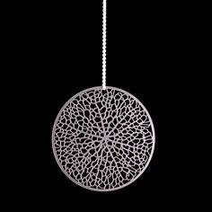 Reticulate  stainless steel pendant intricate by nervoussystem, $50.00