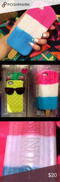 Victoria's Secret PINK Popsicle iPhone 6 Case Brand new in original packaging. NEVER  USED and still sealed from the store. Sparkly hot pink white and blue Popsicle silicone case with Popsicle stick. PINK Victoria's Secret Accessories Phone Cases