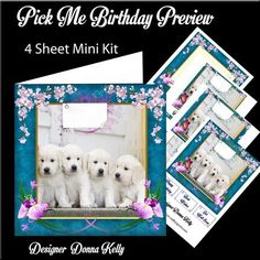 Pick Me Birthday Mini Kit on Craftsuprint designed by Donna Kelly - This 4 sheet mini kit is approx 7x7