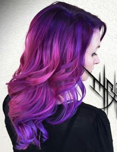 Pink purple dyed hair