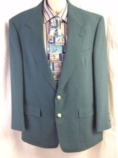 Jack Nicklaus Men Sport Coat Size 42R Teal Lined Tournament Series Gold Buttons #JackNicklaus #TwoButton #tealsportcoat