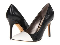 Sam Edelman Desiree Snow White/Black Dress Calf Leather/Oversized Snake/Napa Luva - 6pm.com