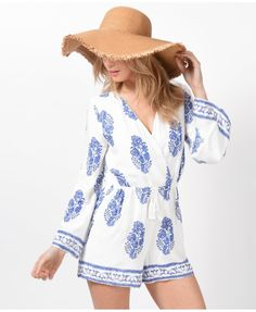 a0098328670 Ladies Blue and White printed summer playsuit.Long flared sleeves 70 s  inspired outfit.