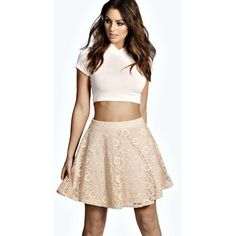Boohoo Louise Lace Skater Skirt ($14) ❤ liked on Polyvore featuring skirts, nude, flared mini skirt, circle skirt, mini skirt, pink skater skirt and pink skirt