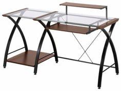 Z-Line Designs® - Brisa Computer Desk - Cherry/Clear - Larger Front