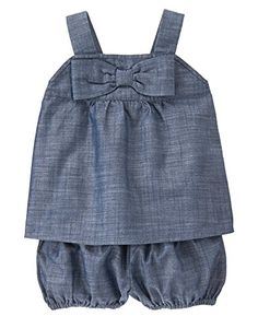 c7eced02982 Crazy 8 Baby Toddler Girls  Chambray Bow Front Set  Bow front chambray  short and tank set  great spring fashion for dressing up or down