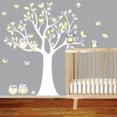 Nursery Wall Decal Vinyl Wall Decal Yellow chevron pattern Owl Tree Set Nursery Boy Baby on Etsy, $99.00