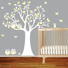 Nursery Wall Decal Vinyl Wall Decal Yellow chevron pattern Owl Tree Set Nursery Boy Baby