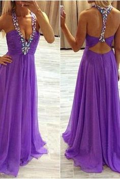 Sexy Purple Chiffon Prom Dresses with Crystals