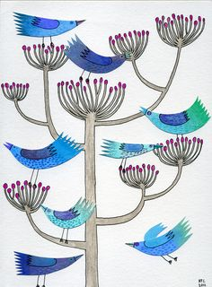 Becky Crawford. Collage, pen and ink, coloured pencil, line drawing, blue birds, greetings card. https://www.etsy.com/uk/listing/82234830/greetings-card-blue-birds-amongst-seed?ref=shop_home_active