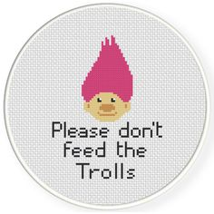 Please Don't Feed The Trolls Cross Stitch Illustration