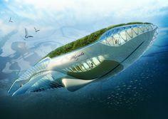 Physalia, de Vincent Callebaut, é um misto de barco e pequeno ecossistema autossuficiente, que gera a energia que usa do sol e reduz a poluição via filtro biológico.