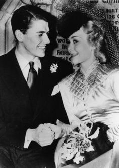 "Ronald Reagan & Jane Wyman Wedding 1940 The actor turned president, Ronald Reagan, married actress Jane Wyman at the Wee Kirk of The Heather Chapel at Forrest Lawn Glendale (a picture, pinned on this board) in 1940. The two met while filming the Warner Brothers picture, ""Brother Rat."""