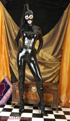 ブラック キュット マスクとコルセット付き ラテックスキャットスーツ 通用版