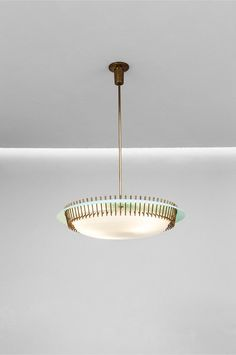 Angelo Lelli; Brass, Glass and Perspex Ceiling light for Arredoluce, 1950s.