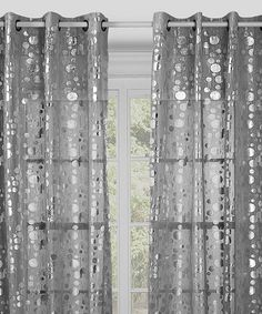 Sweet and sheer, these whispery curtains with silver stamping provide a little privacy without blocking out the light. Use them on their own or pair them with solid panels for an attractive finish. Cute Curtains, Grommet Curtains, Drapes Curtains, Blackout Curtains, Silver Curtains, Crystals In The Home, Grey Room, Window Panels, Curtain Panels