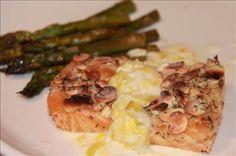 Almond-Crusted Salmon with Leek & Lemon Cream Sauce ~ Gluten Free Club