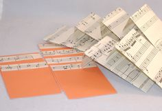 6 Blank Decorated Music Cards & Matching Envelopes - Repurposed Music Score Paper and Orange Flat Card. $3.75, via Etsy.
