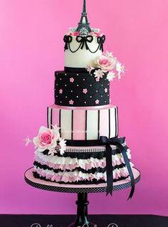 Multi-Tiered Pink & Black Paris Themed Cake
