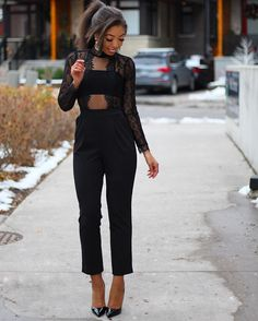 Fall Fashion - Winter Fashion - Holiday Fashion - Lace Jumpsuit - Express Jumpsuit - outfit inspiration - louboutin so kate - amynicolaox - street style - street style chic