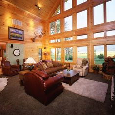 """Love the amount of windows in the great room!! """"Photo of the Day: Expansive volume with two-story walls, wood T&G ceiling. #WindowsWednesday #enjoytheview"""""""