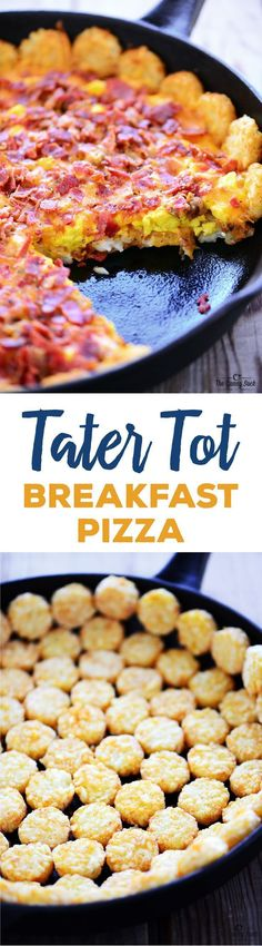 Tater Tot Breakfast Pizza recipe with crispy potatoes, scrambled eggs, melted cheese, crispy bacon and sausage is a delicious breakfast or holiday brunch! #BaconAndEggs