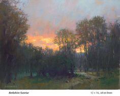 """Berkshire Sunrise"" by John MacDonald, Oil, 12 x 16 Impressionist Paintings, Seascape Paintings, Nature Paintings, Impressionism, Landscape Art, Landscape Paintings, Landscapes, John Mcdonald, Barbizon School"